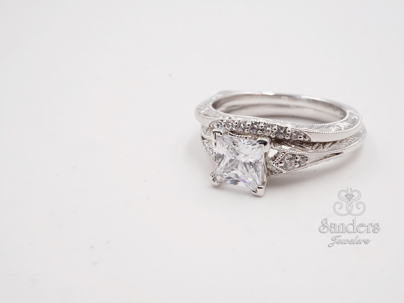 Bridal Jewelry - Princess Cut Engraved Diamond Engagement Ring - image #3