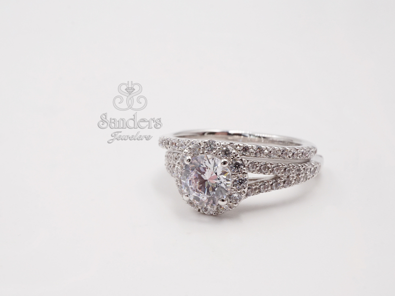 Bridal Jewelry - Round Halo Split Shank Engagement Ring - image #2