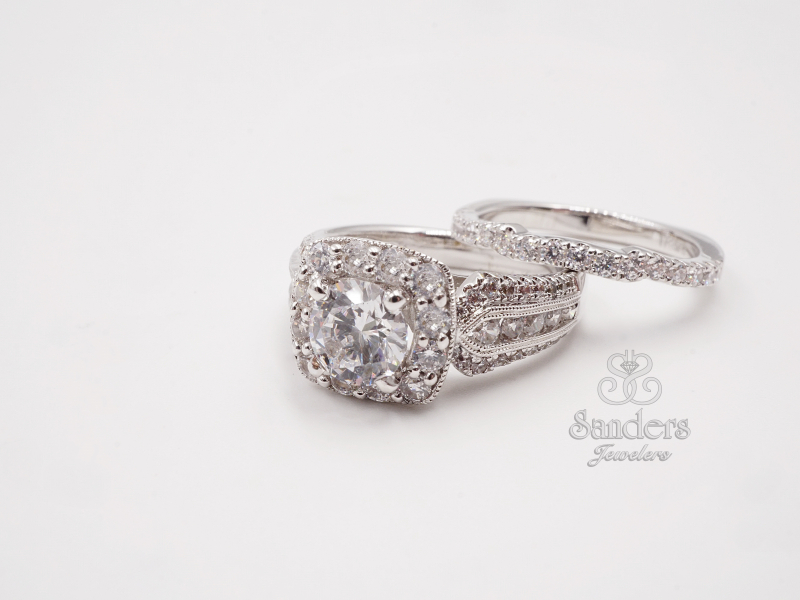 Bridal Jewelry - 3 Row Cushion Halo Diamond Engagement Ring - image #3