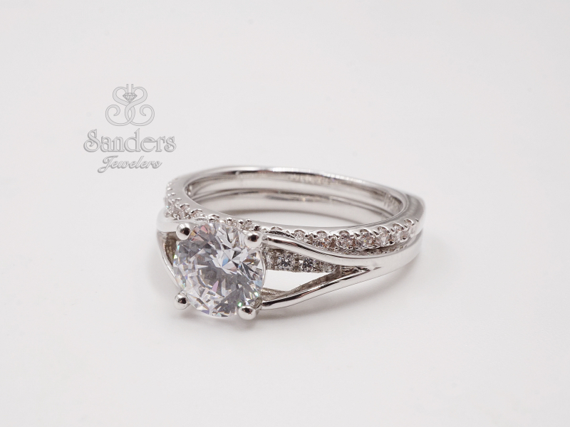 Bridal Jewelry - Diamond Accented Engagement Ring - image 2