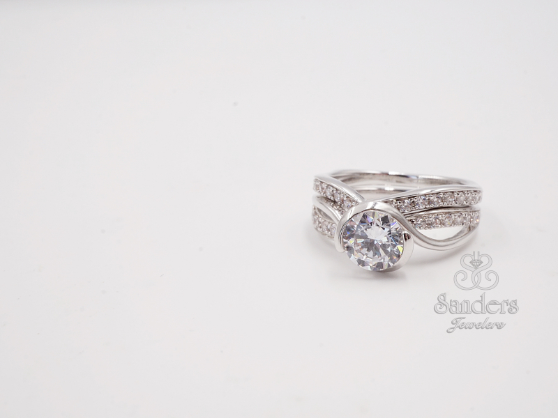 Bridal Jewelry - Half Bezel Diamond Accented Engagement Ring - image #3