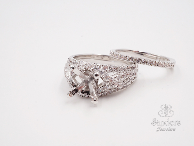 Bridal Jewelry - Criss-Cross  Diamond Engagement Ring - image 2