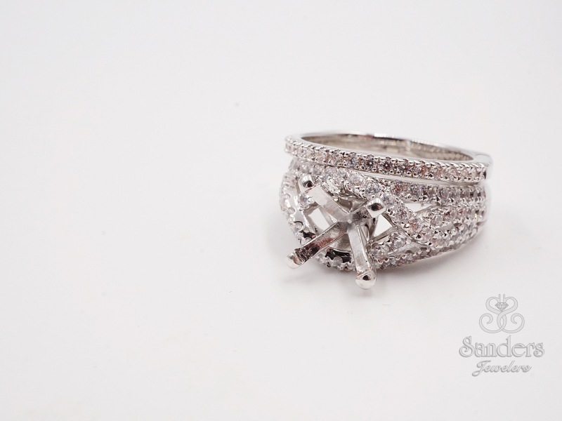 Bridal Jewelry - Criss-Cross  Diamond Engagement Ring - image 3