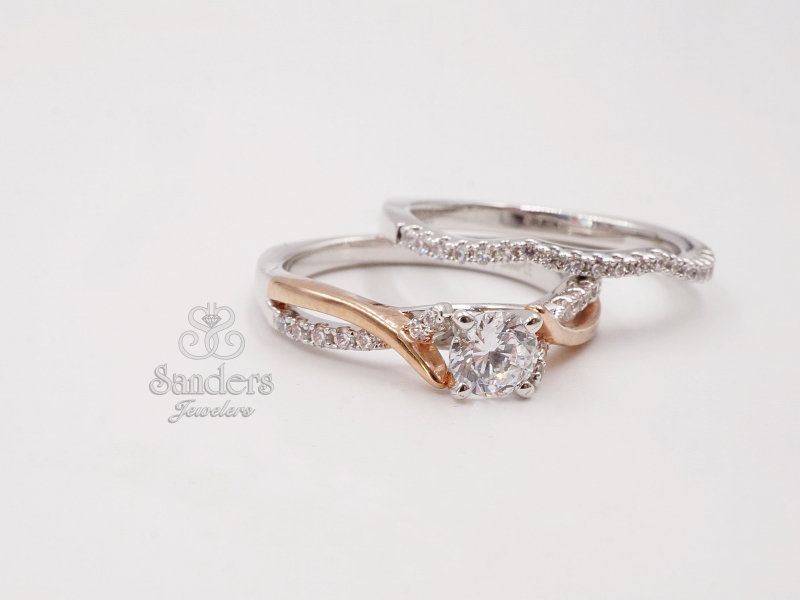 Bridal Jewelry - Two Tone Criss-Cross Engagement Ring - image #2