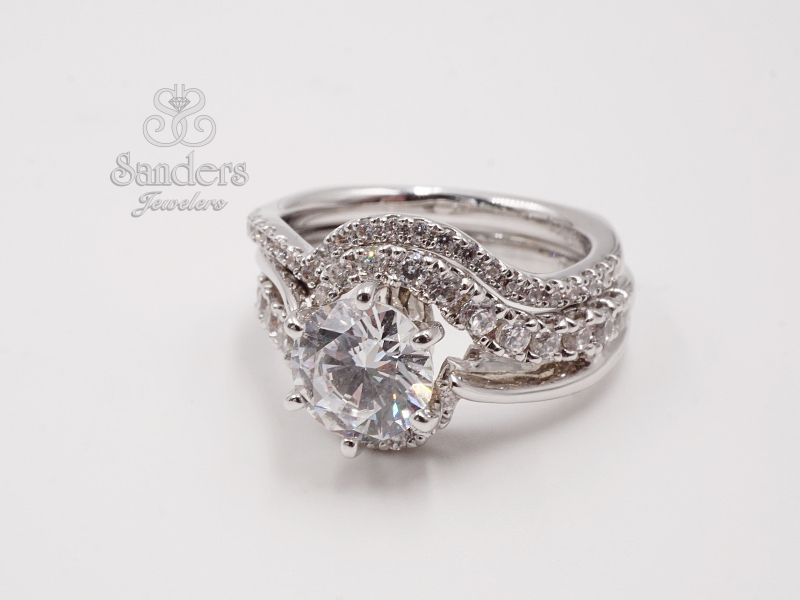 Bridal Jewelry - Curved Diamond Engagement Ring - image #2