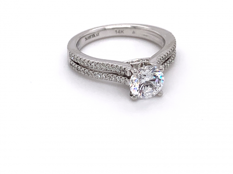 Bridal Jewelry - Diamond Accented Double Shank Engagement Ring  - image #2