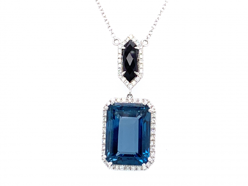 Pendants & Necklaces - London Blue Topaz and Onyx Pendant - image #2