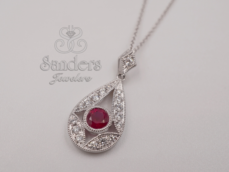 Pendants & Necklaces - Ruby and Diamond Pendant - image #2