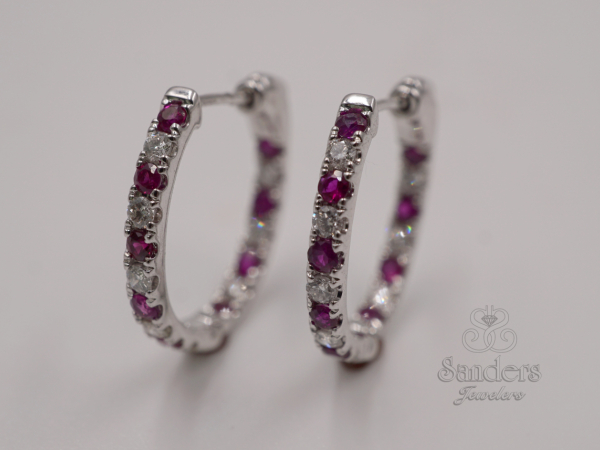 Earrings - Ruby and Diamond Inside Out Hoops