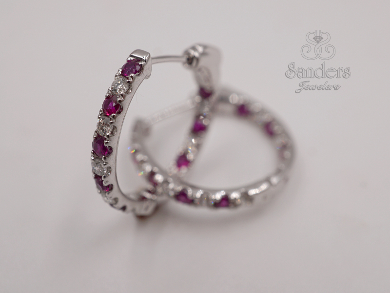 Earrings - Ruby and Diamond Inside Out Hoops - image #2