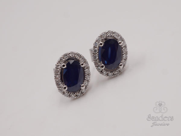 Earrings - Sapphire and Diamond Earrings