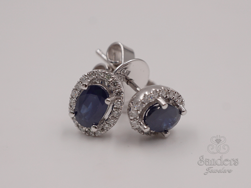 Earrings - Sapphire and Diamond Earrings - image #2