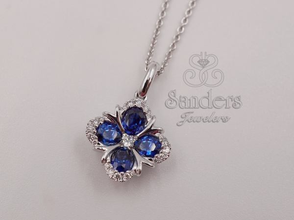 Pendants & Necklaces - Sapphire and Diamond Pendant