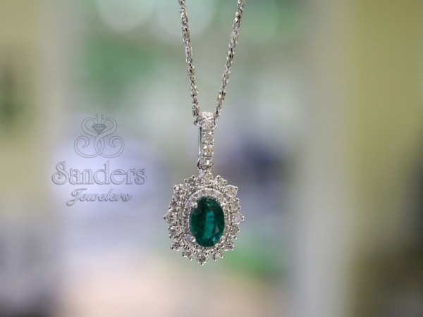Pendants & Necklaces - Emerald and Diamond Pendant
