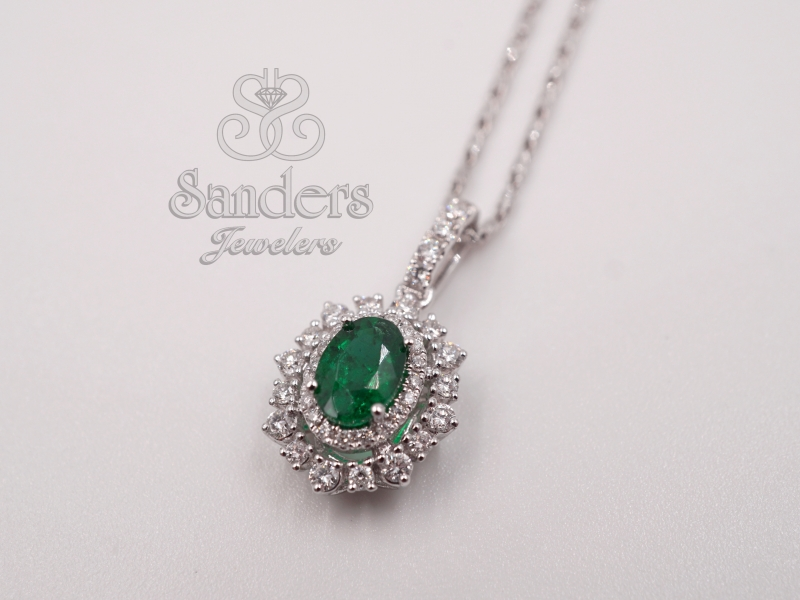 Pendants & Necklaces - Emerald and Diamond Pendant - image 2