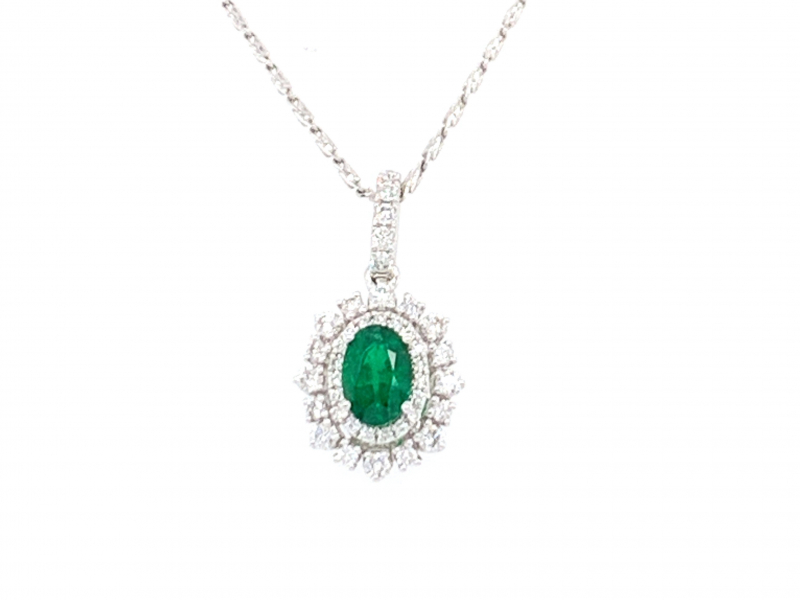 Pendants & Necklaces - Emerald and Diamond Pendant - image #2