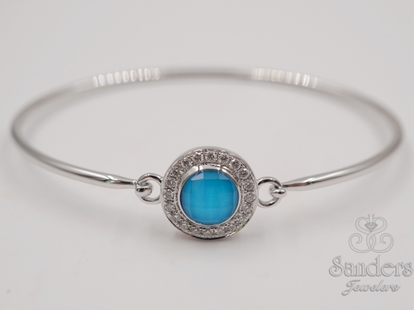 Bracelets - Turquoise and Diamond Bangle