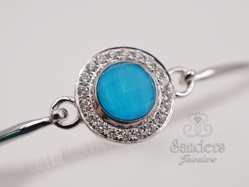 Bracelets - Turquoise and Diamond Bangle - image #2