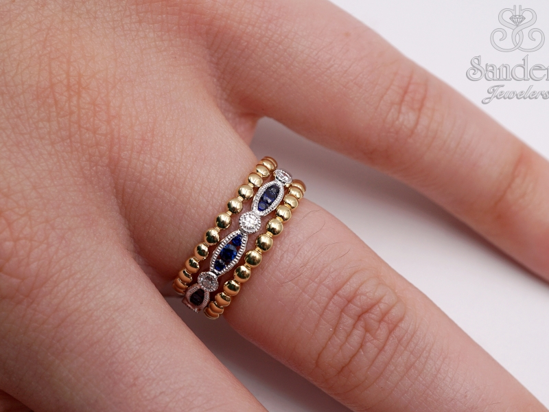 Rings - Beaded Gold Band - image 3