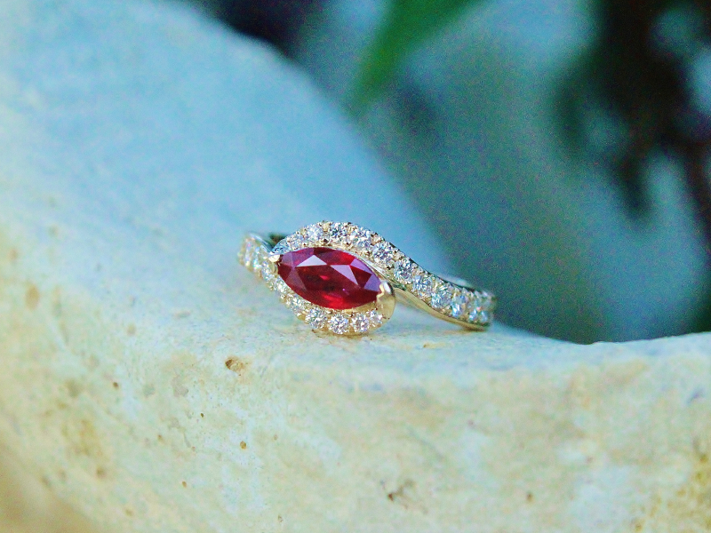 Sanders Jewelers Custom Designs - Custom Ruby and Diamond Ring - image #3