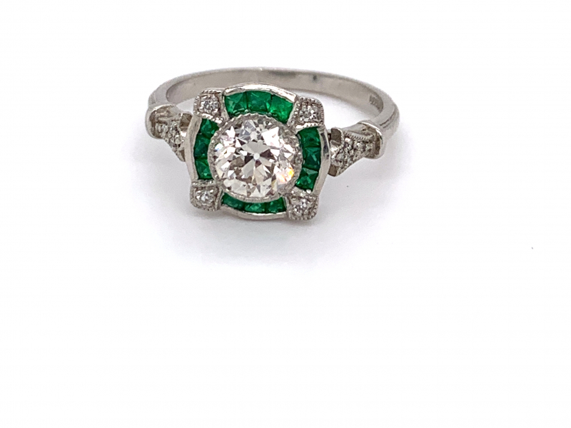 Rings - Vintage Diamond and Emerald Ring - image #4