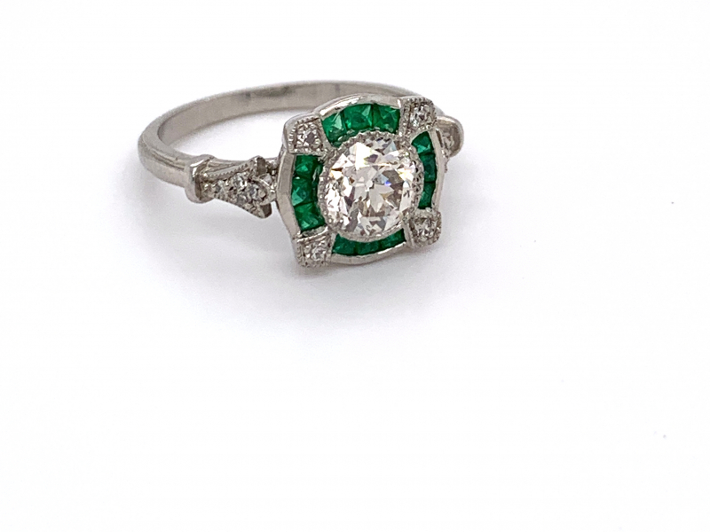 Rings - Vintage Diamond and Emerald Ring - image #5