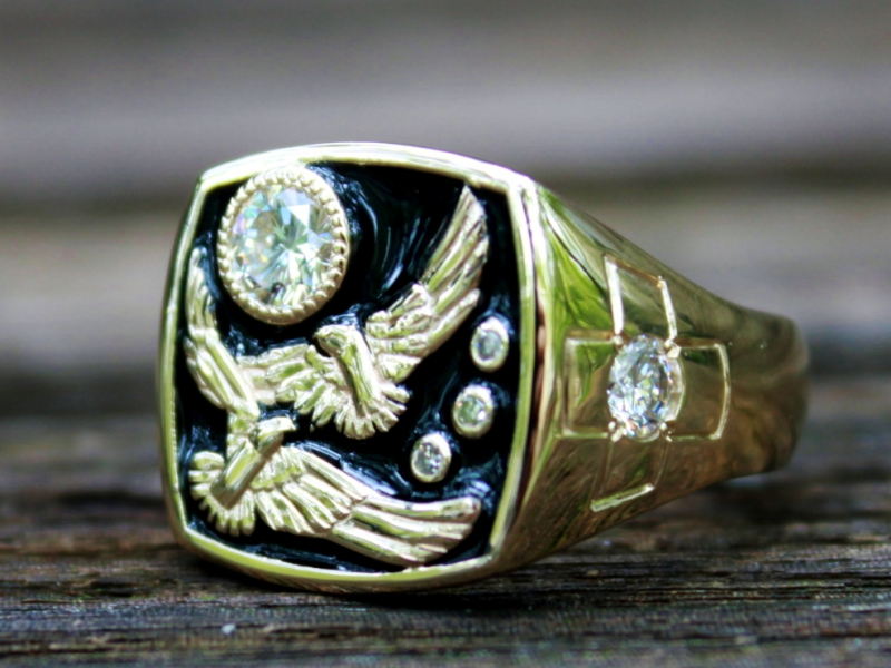 Sanders Jewelers Custom Designs - Soaring Eagles Custom Ring - image #2