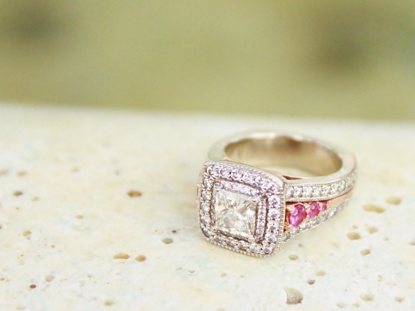 Sanders Jewelers Custom Designs - White & Pink Celtic Wedding Set
