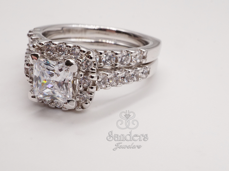 Bridal Jewelry - Princess Cut Diamond Halo Setting - image #2