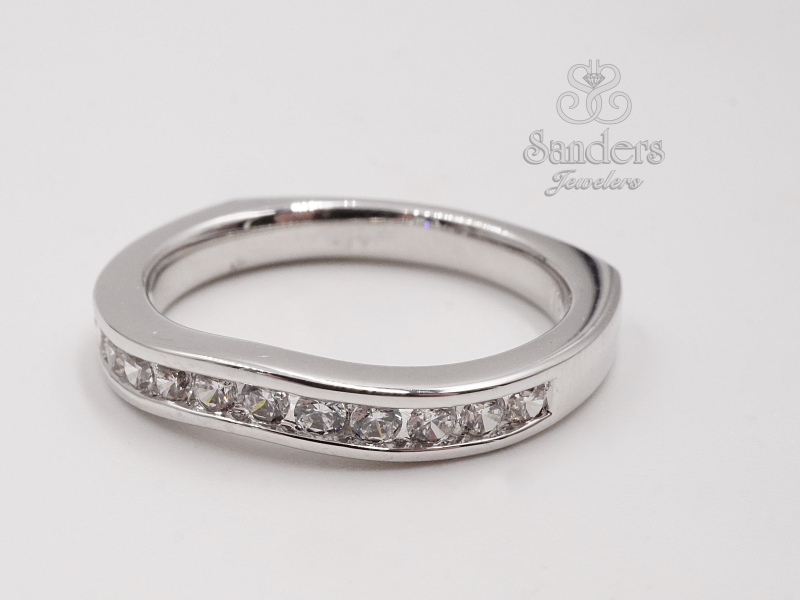 Bridal Jewelry - Curved Channel Set Diamond Wedding Band