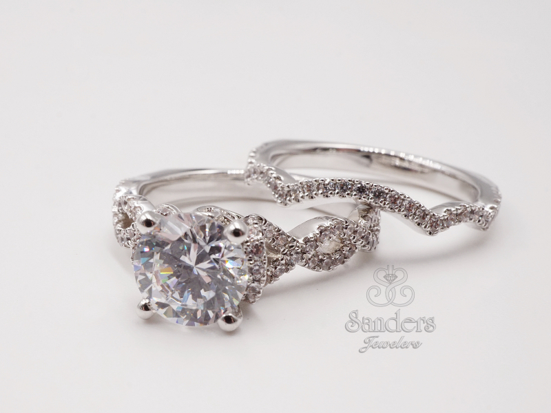 Bridal Jewelry - Infinity Inspired Twisting Diamond Engagement Ring - image #2
