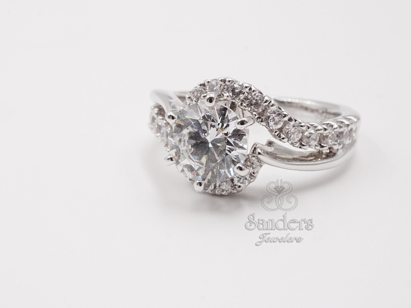 Bridal Jewelry - Curved Diamond Engagement Ring
