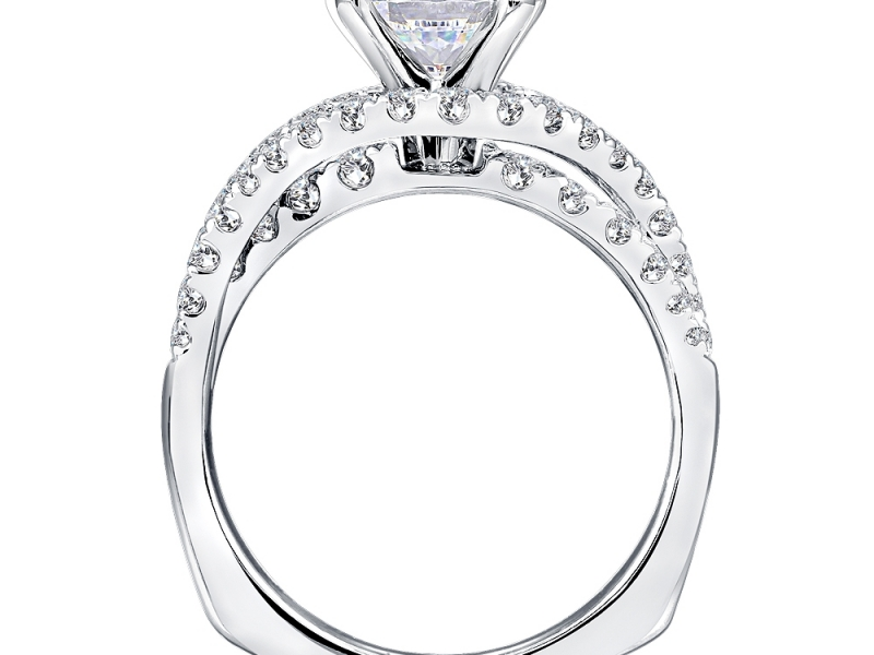 Bridal Jewelry - Asymmetrical Split Diamond Engagement Ring - image #3