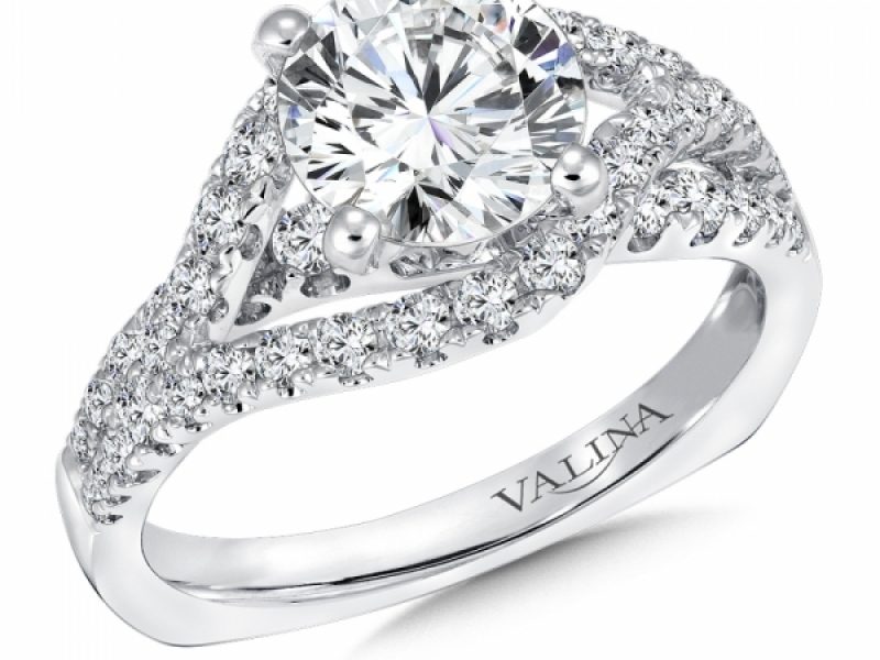Bridal Jewelry - Asymmetrical Split Diamond Engagement Ring - image #2