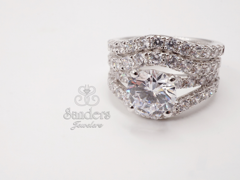 Bridal Jewelry - 3 Row Diamond Engagement Ring - image #2