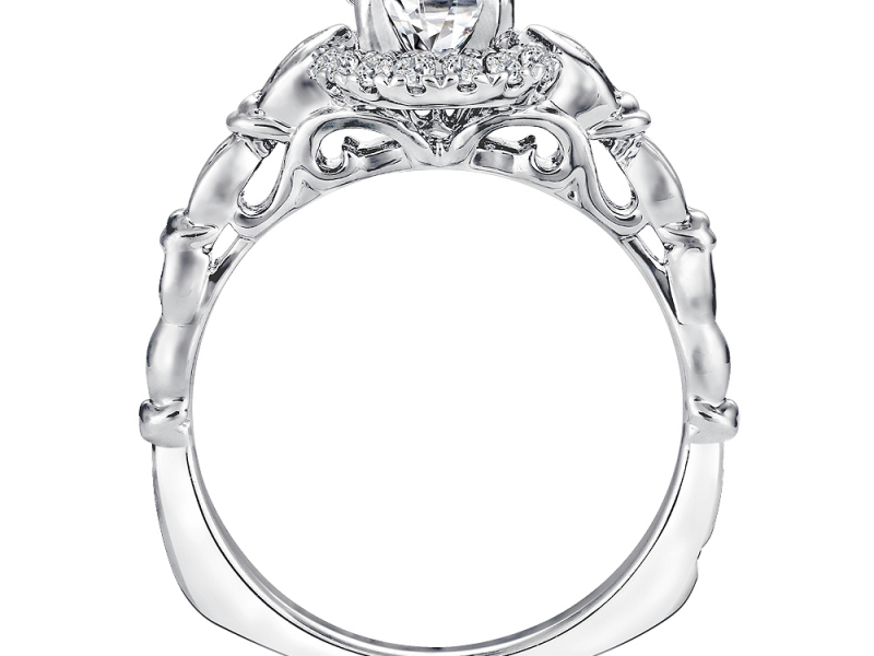 Bridal Jewelry - Vintage Designed Halo Engagement Ring - image #2
