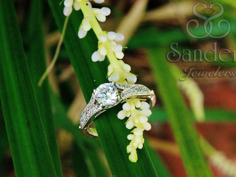 Bridal Jewelry - Vintage Inspired Split Shank Engagement Ring