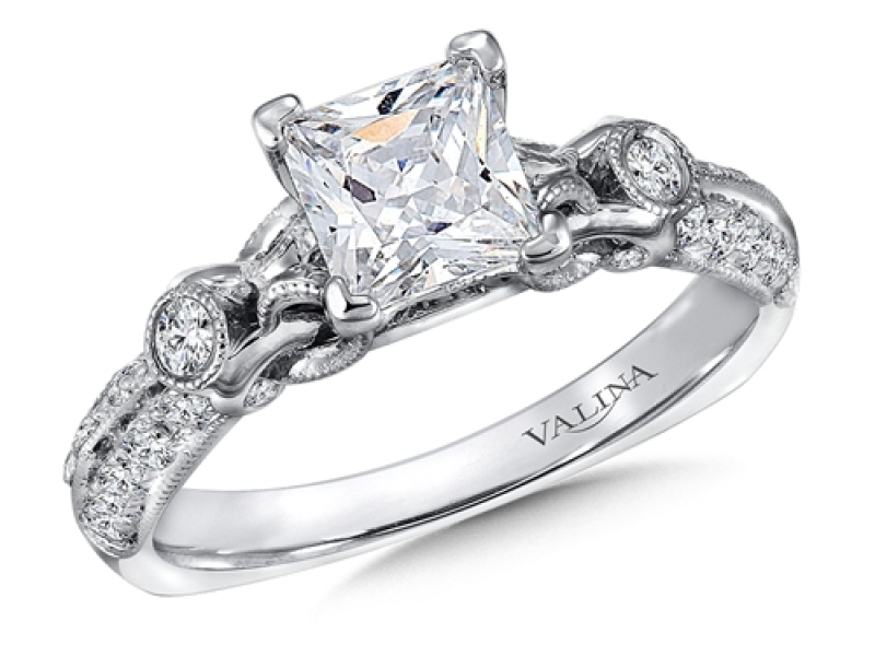 Bridal Jewelry - Princess Cut Vintage Inspired Engagement Ring - image #2