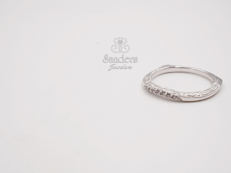 Bridal Jewelry - Curved Engraved Diamond Wedding Band