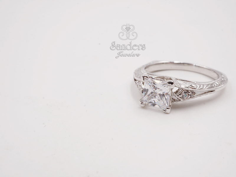 Bridal Jewelry - Princess Cut Engraved Diamond Engagement Ring