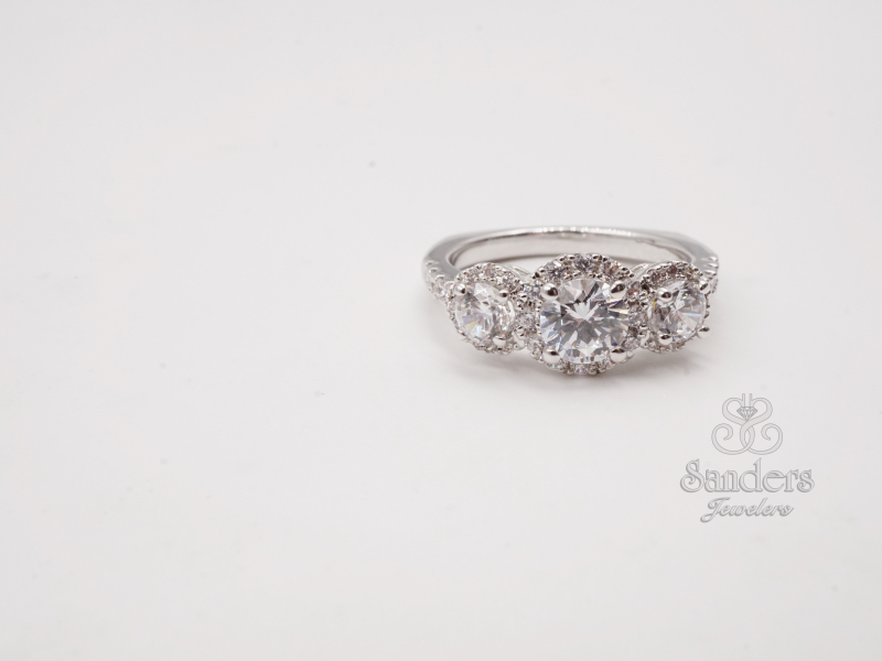 Bridal Jewelry - Three Stone Halo Engagement Ring