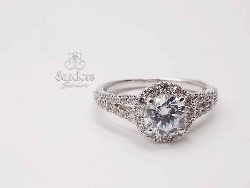 Bridal Jewelry - Round Halo Split Shank Engagement Ring