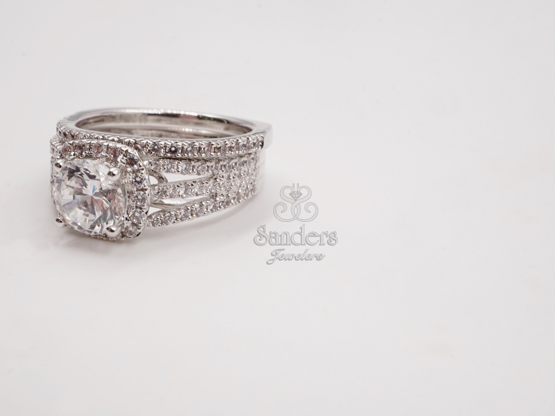 Bridal Jewelry - Cushion Halo 3 Row Engagement Ring - image #2