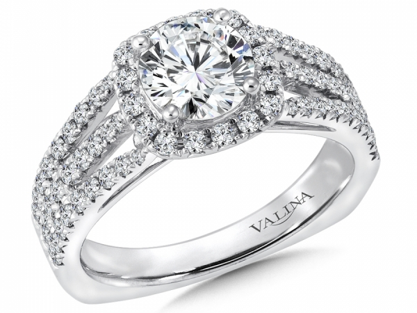 Bridal Jewelry - Cushion Halo 3 Row Engagement Ring
