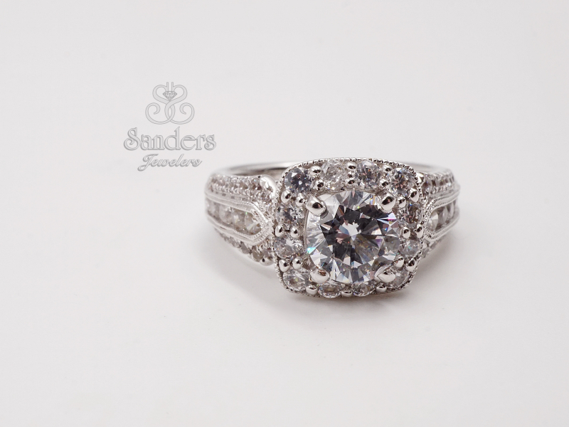 Bridal Jewelry - 3 Row Cushion Halo Diamond Engagement Ring - image 2
