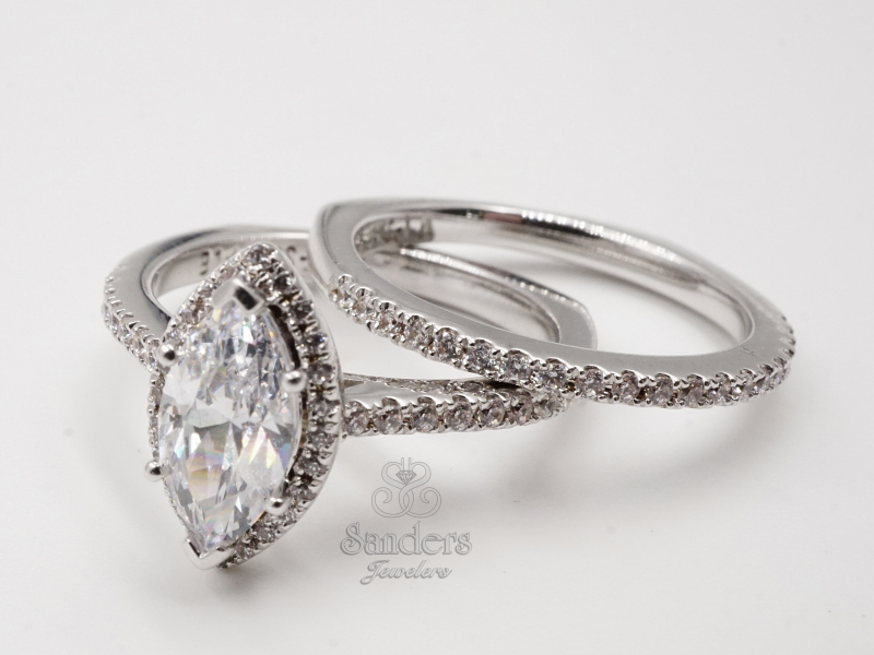 Bridal Jewelry - Marquise Halo Engagement Ring - image #2