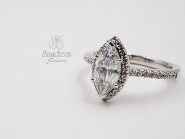 Bridal Jewelry - Marquise Halo Engagement Ring