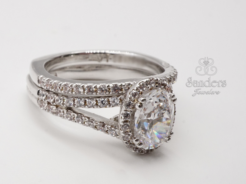 Bridal Jewelry - Oval Halo Engagement Ring - image #3