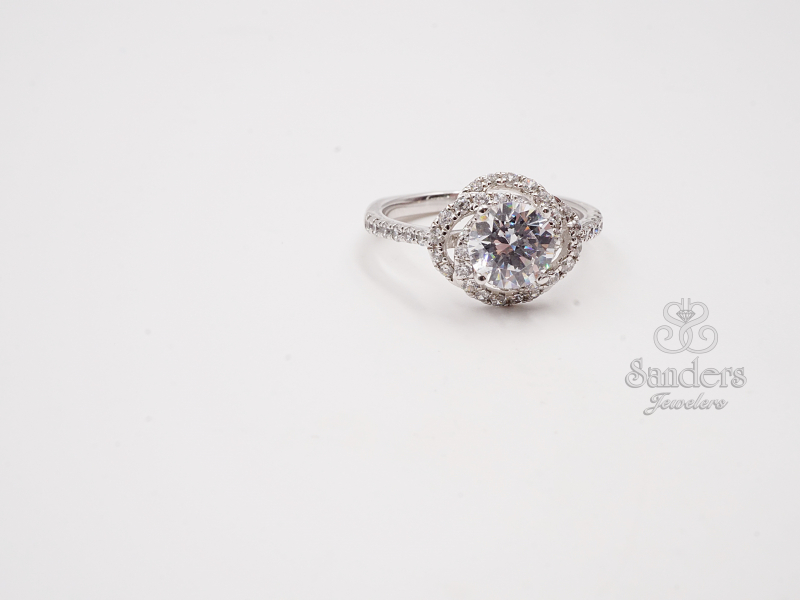 Bridal Jewelry - Floral Halo Engagement Ring - image 2