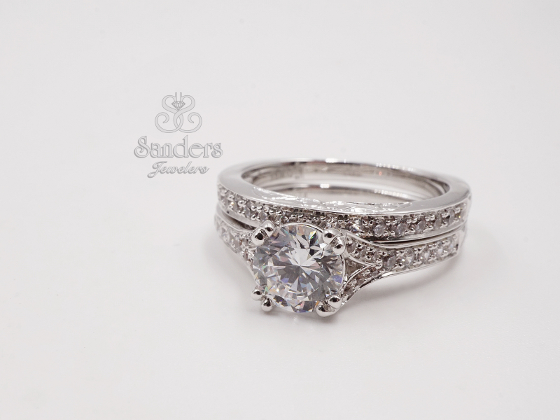 Bridal Jewelry - Straight Diamond Band w/ Profile Engraving - image 2